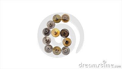 Nedräkning från 10 till 0 Nummer för siffra för stil för steampunk för tappningkugghjulkugghjul mekaniska på vit bakgrund rostigt lager videofilmer