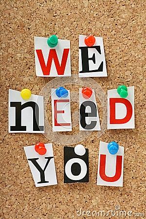 We Need You Stock Photo Image 37209900