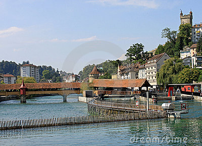 Needle Dam and Mill Bridge, River Reuss, Lucerne.