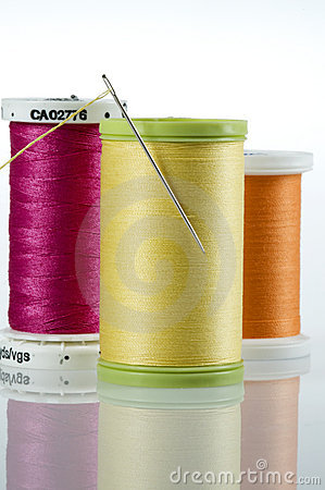 Needle and thread with 3 spools of thread