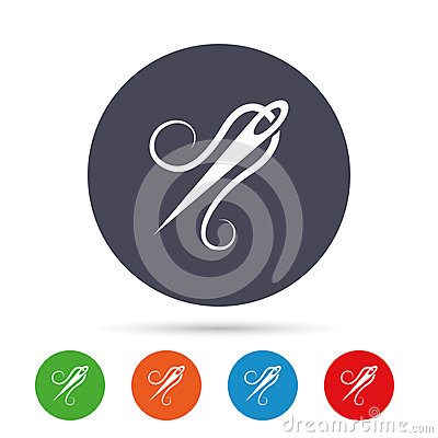 Free Needle With Thread Icon. Tailor Sign. Stock Photography - 85382132