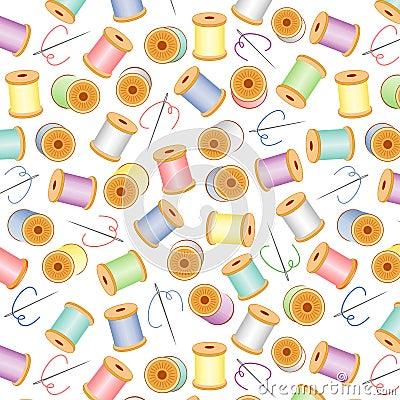 Needles&Threads Seamless, Pastel, White BG