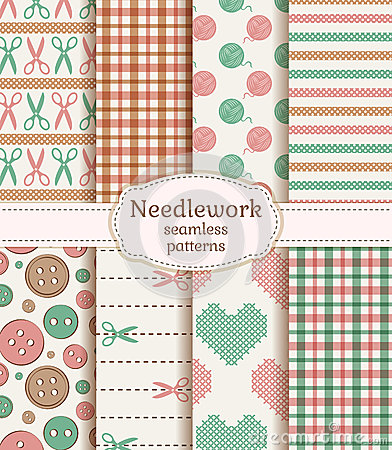 Free Needlework Seamless Patterns. Vector Set. Stock Photo - 42617300