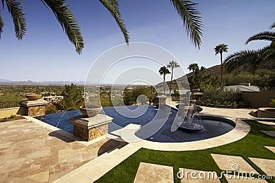 Negative edge modern mansion outdoor swimming pool