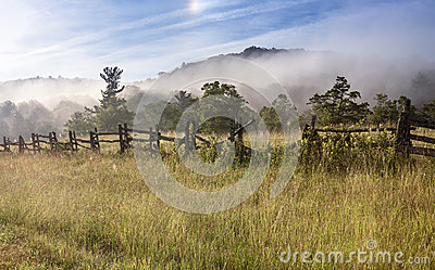 Split Rail Fence Fog Field Blue Ridge Parkway NC