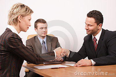 Negotiation over,man and woman  handshake