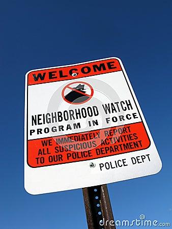 Neighborhood Crime Watch Police Warning Sign