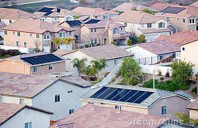 Neighborhood Roof Tops with Solar Panels