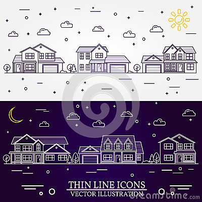 Free Neighborhood With Homes Illustrated White And Purple Background. Royalty Free Stock Photography - 75177017