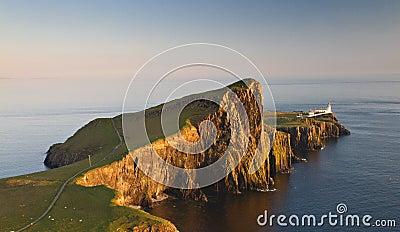 Neist lighthouse in the evening sun