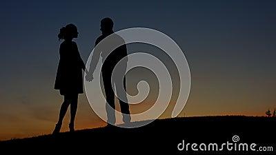 Nelle coppie di amore che ammirano il tramonto archivi video