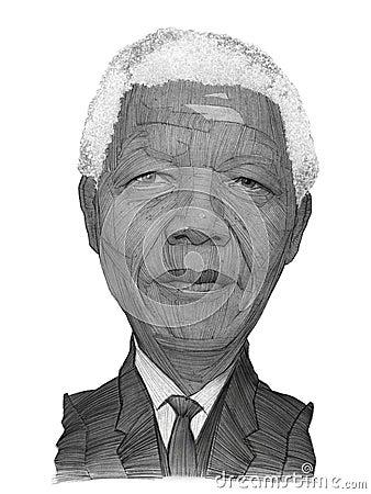 Nelson Mandela Portrait Sketch Editorial Image