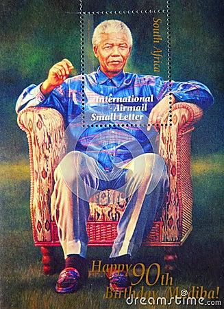 Nelson Mandela stamp Editorial Image