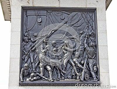 Nelson memorial in Trafalgar Square Editorial Stock Image