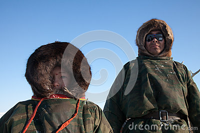 The Nenets man nad his son Editorial Image