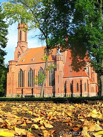 Neogothic church in autumn
