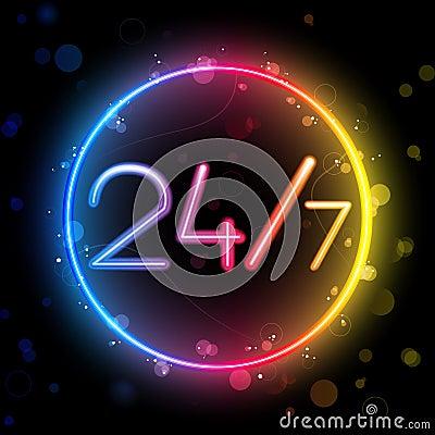 Neon 24/7 Rainbow Circle