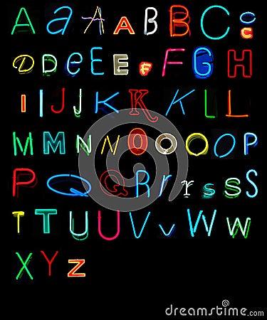 Free Neon Alphabet Royalty Free Stock Photos - 4494138