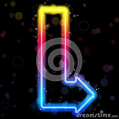 Neon Arrow with Sparkles.