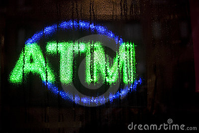 Neon ATM sign