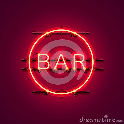 Neon bar signboard city color red. Vector Illustration