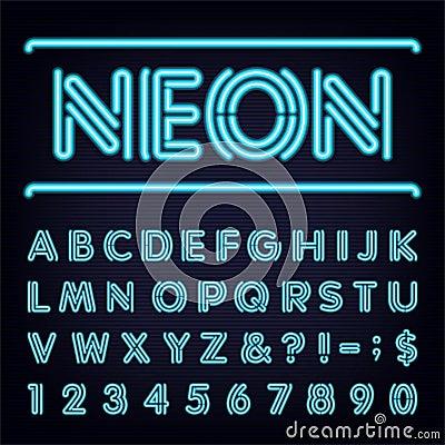 Free Neon Blue Light Alphabet Vector Font. Stock Photo - 54921890