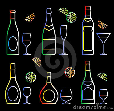 Neon bottles and glasses (vector)