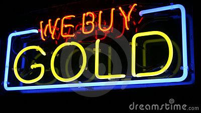 Neon WE BUY GOLD sign #2: neon gold sign