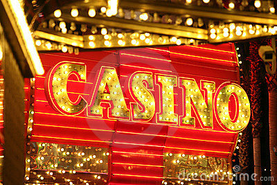 Neon Casino Sign Editorial Stock Photo