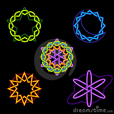Neon celestial symbols