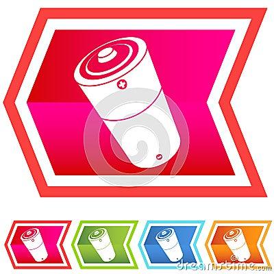 Neon Chevron Icon Set: Battery