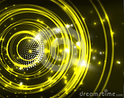 Neon circles abstract background Vector Illustration