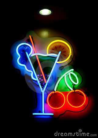 Free Neon Cocktail Sign Royalty Free Stock Image - 1376146