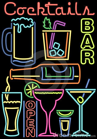 Free Neon Cocktails/Bar Symbols/ai Royalty Free Stock Images - 10103999