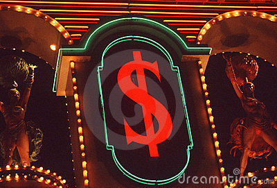 Neon dollar sign, Las Vegas, NV Editorial Photography