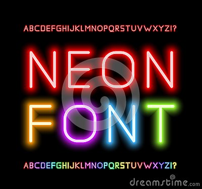 Free Neon Font Royalty Free Stock Image - 43418546