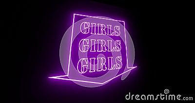 Neon Girls als beleuchtete Werbung für Nachtclub oder Massage - 4k stock video footage