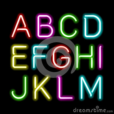 Free Neon Glow Alphabet Royalty Free Stock Photo - 34499205