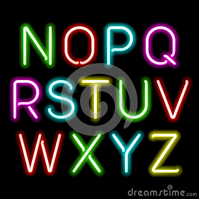 Free Neon Glow Alphabet Royalty Free Stock Photography - 34499247