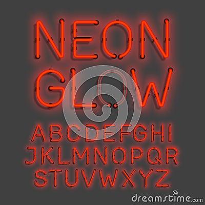 Neon Glow alphabet Vector Illustration