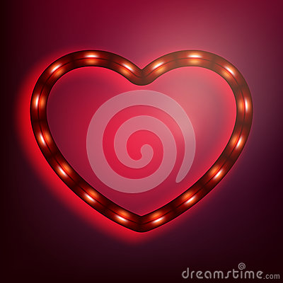 Free Neon Glowing Heart On Red Background. EPS 10 Royalty Free Stock Photo - 82200055