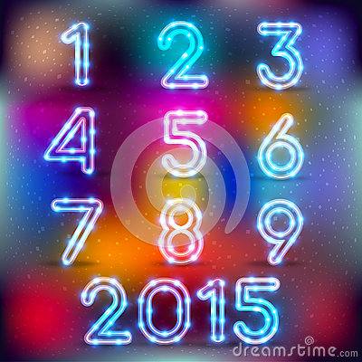 Free Neon Glowing Set Of Numbers Stock Photography - 47685222