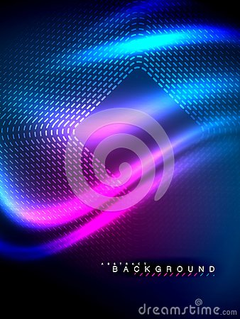 Free Neon Glowing Wave, Magic Energy And Light Motion Background. Vector Illustration Royalty Free Stock Image - 130951876