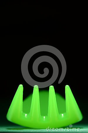 Neon Green Fork on Black Abstract