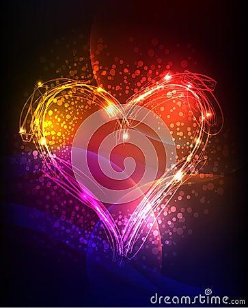 Free Neon Heart Background Stock Photos - 37853183