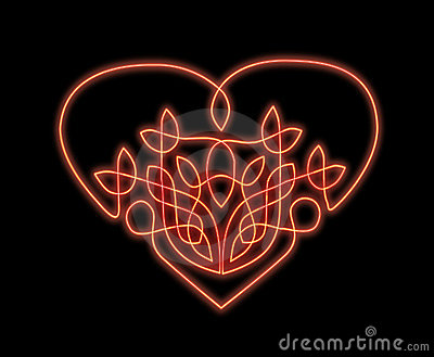 Neon heart in celtic style