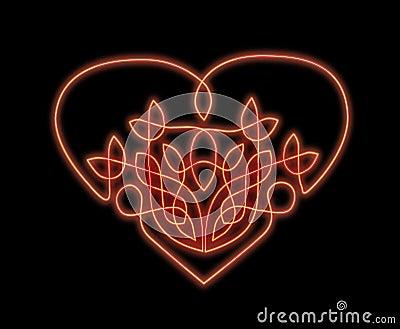 Neon heart in celtic style