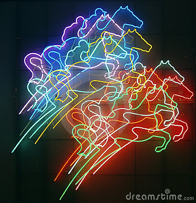 Neon horses and riders