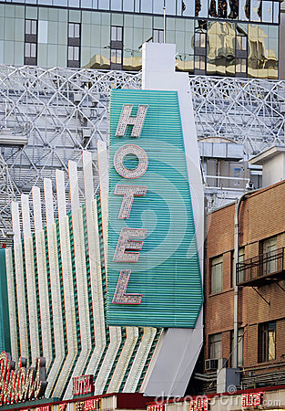 Neon Hotel/Casino Sign Editorial Stock Photo