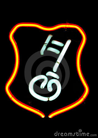 Neon key shaped sign